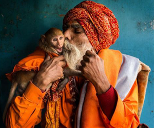 hindu devotee with monkey